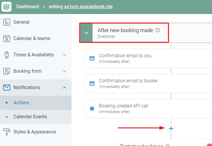 "Click on ""After New Booking Made"" Option"