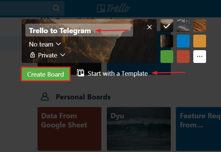 Name the Board as Trello to Telegram to Get Trello Notifications in Telegram