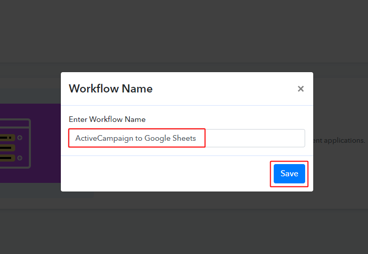 ActiveCampaign to Google Sheets Workflow