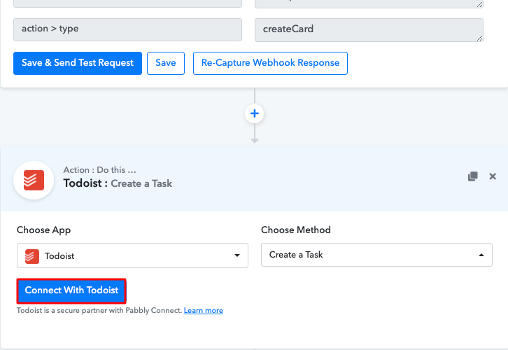 Click Connect Todoist