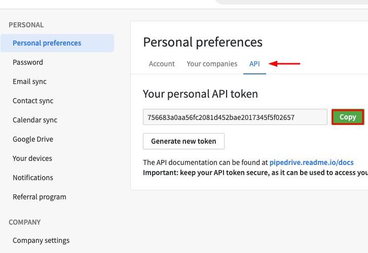 Click on API and Copy API Token