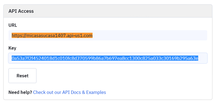 Copy the API Key and URL to Add New Stripe customers to ActiveCampaign as Contact