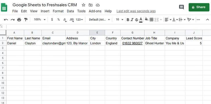 Create Google Sheets