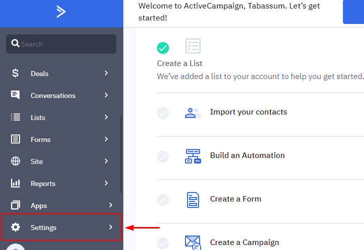 ActiveCampaign Settings