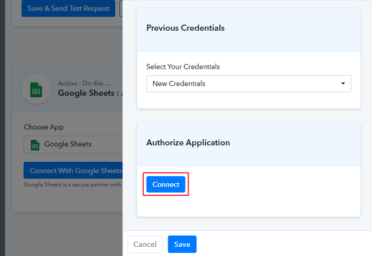 Click the Connect Button to Add Google Sheets Rows for New Chargebee Subscriptions