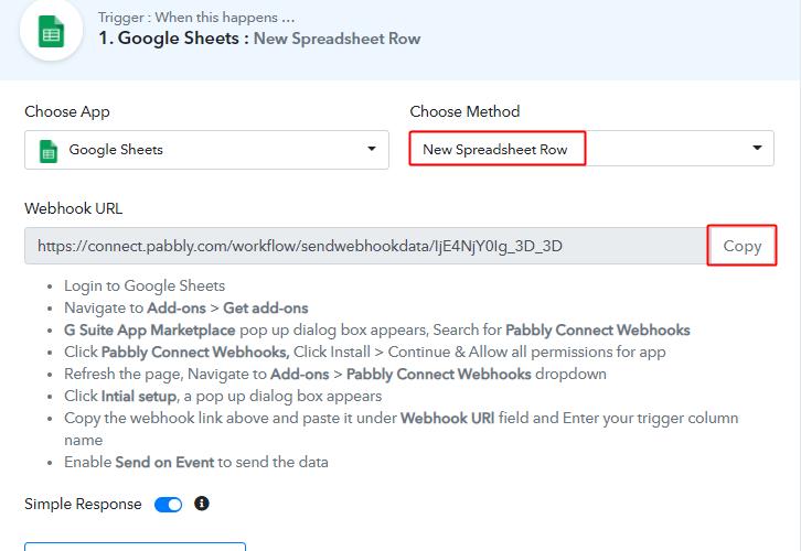 Choose Method & Copy Webhook URL