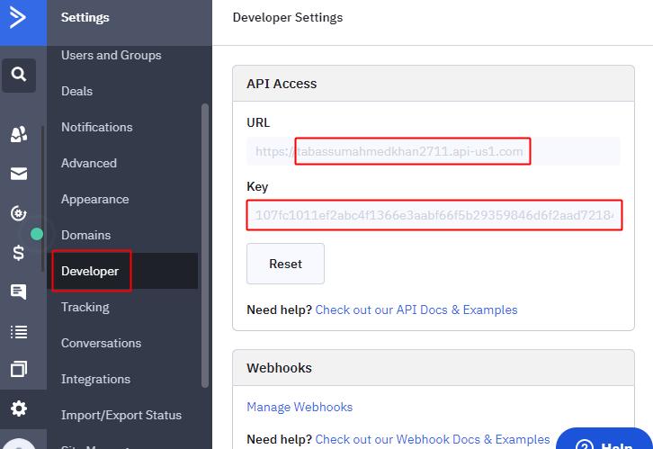Copy API Key & URL