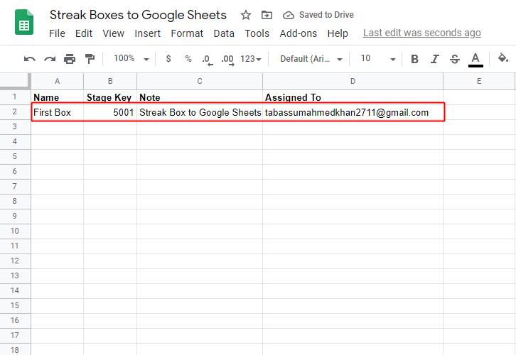 Google Sheets Response