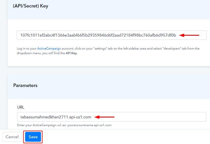 Paste URL & API Key