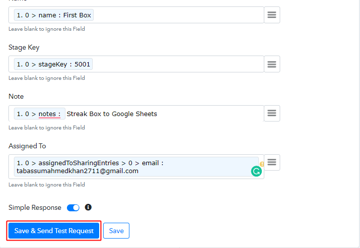 Save & Send Test Request