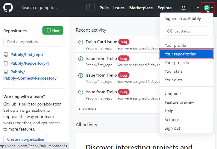 Select Repository from Menu