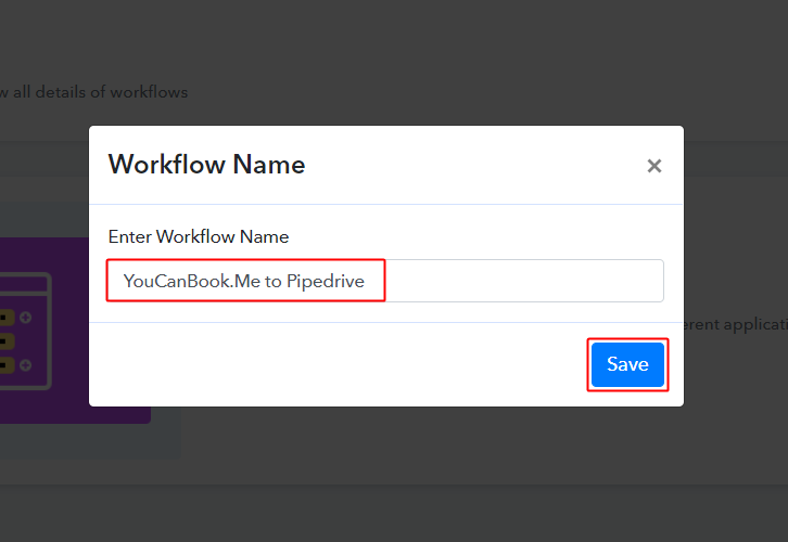 YouCanBook.Me to Pipedrive Workflow