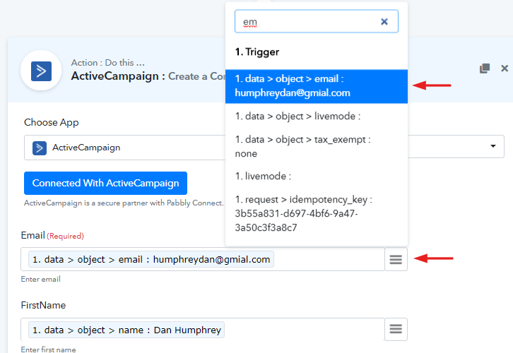 Map Field Data to Add New Stripe customers to ActiveCampaign as Contact
