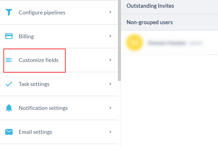 Click on Customized Field Option