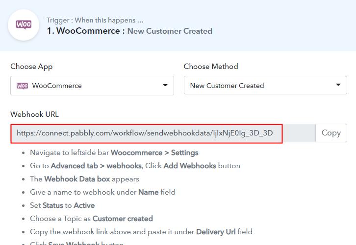 Copy the Webhook URL