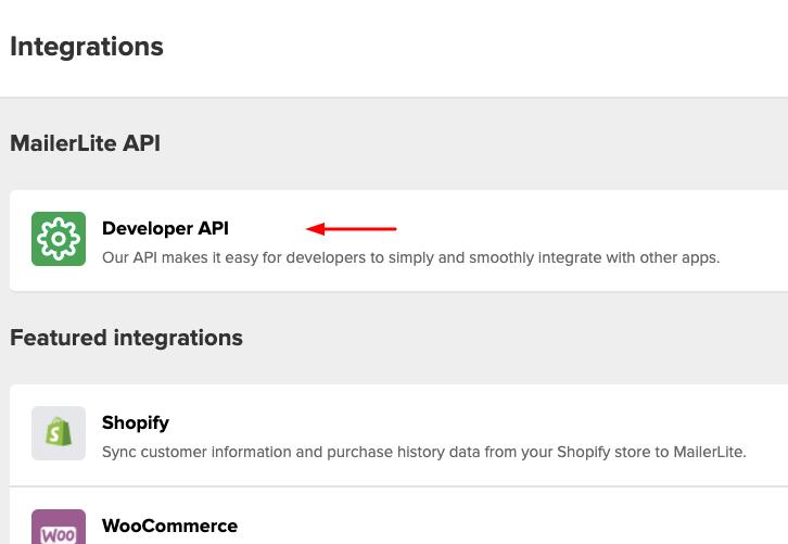 Click on Developers API