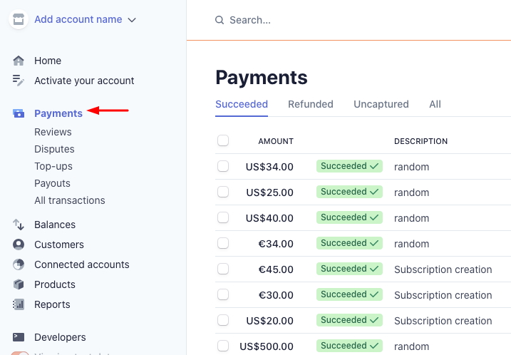 Click on Payments