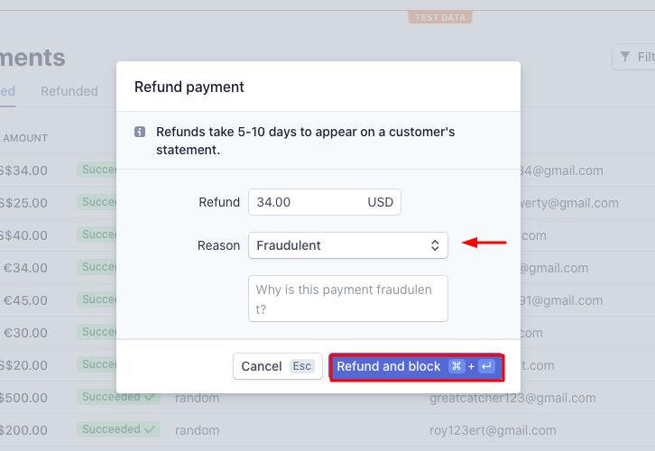 Click on Refund & Block