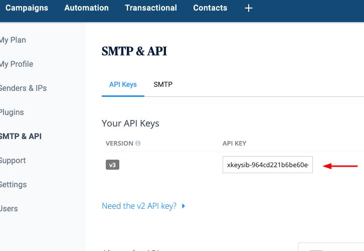 Copy API Key Sendinblue