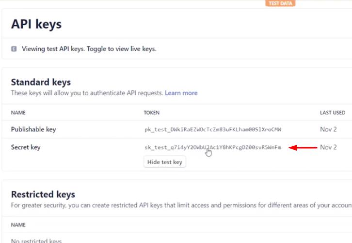 Copy the API Key Stripe