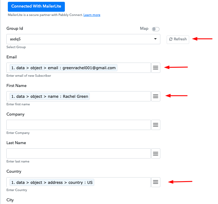 Map the Fields Add Stripe Customers to a Group of MailerLite Subscribers