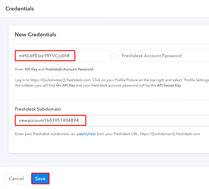 Paste the API Key Freshdesk
