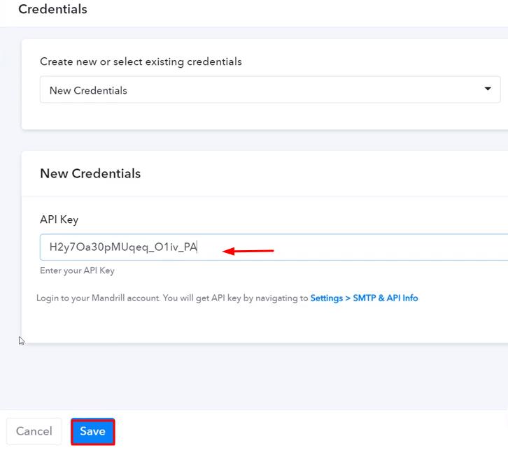 Paste the API Key Mandrill