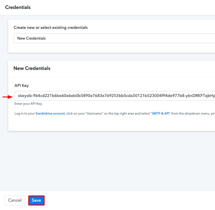 Paste the API Key Sendinblue