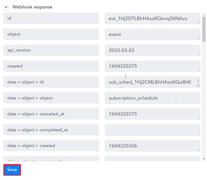 Save the Webhook Response