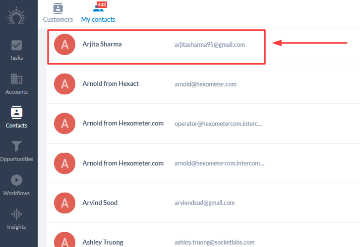 Check Response in Salesflare CRM Account
