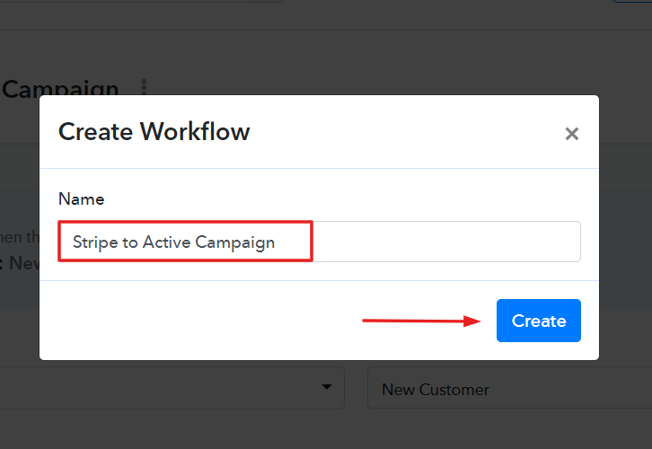 Name the Workflow for Stripe to ActiveCampaign Integration