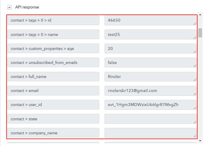 Action API Response for Stripe to Gist