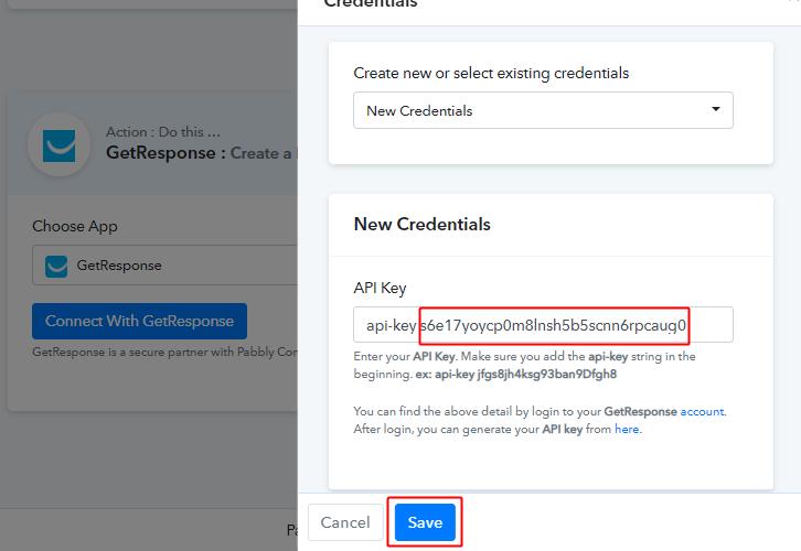 Paste API Key & Click 'Save'