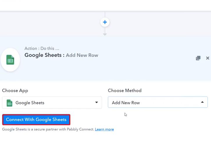 Click Connect Google Sheets