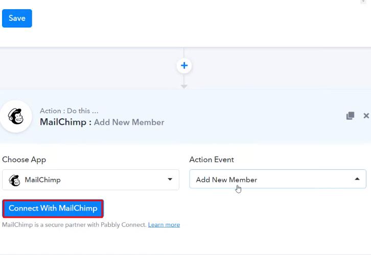 Click Connect MailChimp