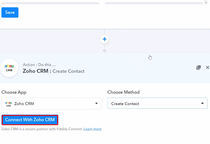 Click Connect Zoho CRM