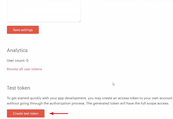 Click on Create Test Token Todoist