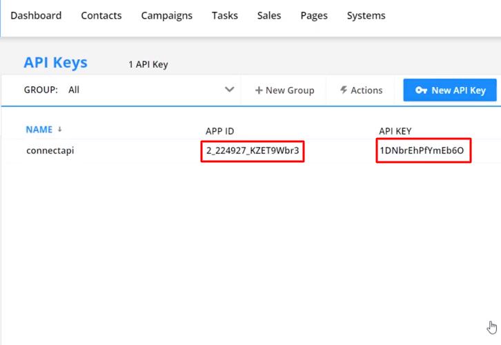 Copy API Keys Ontraport