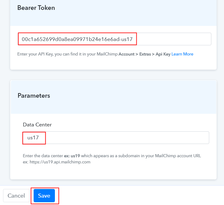 Paste API Key MailChimp