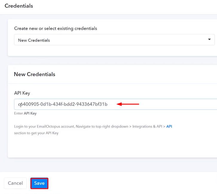Paste the API Key EmailOctopus