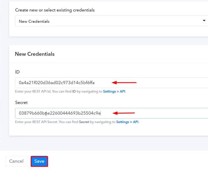 Paste the API Key Sendpulse