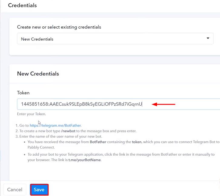 Paste the API Token Telegram