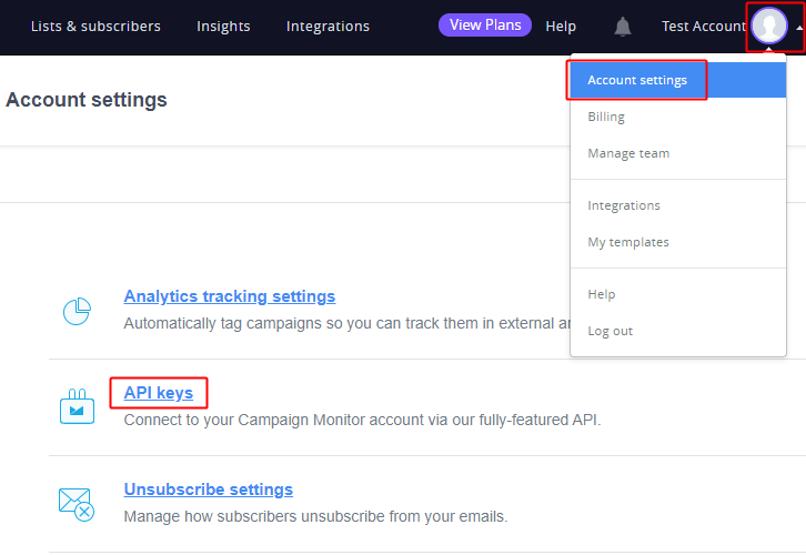 Account Settings Campaign Monitor