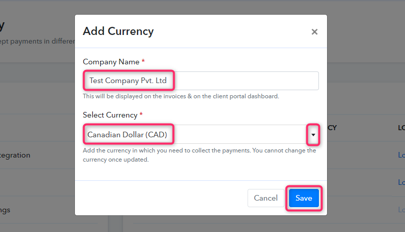 Add Currency Details