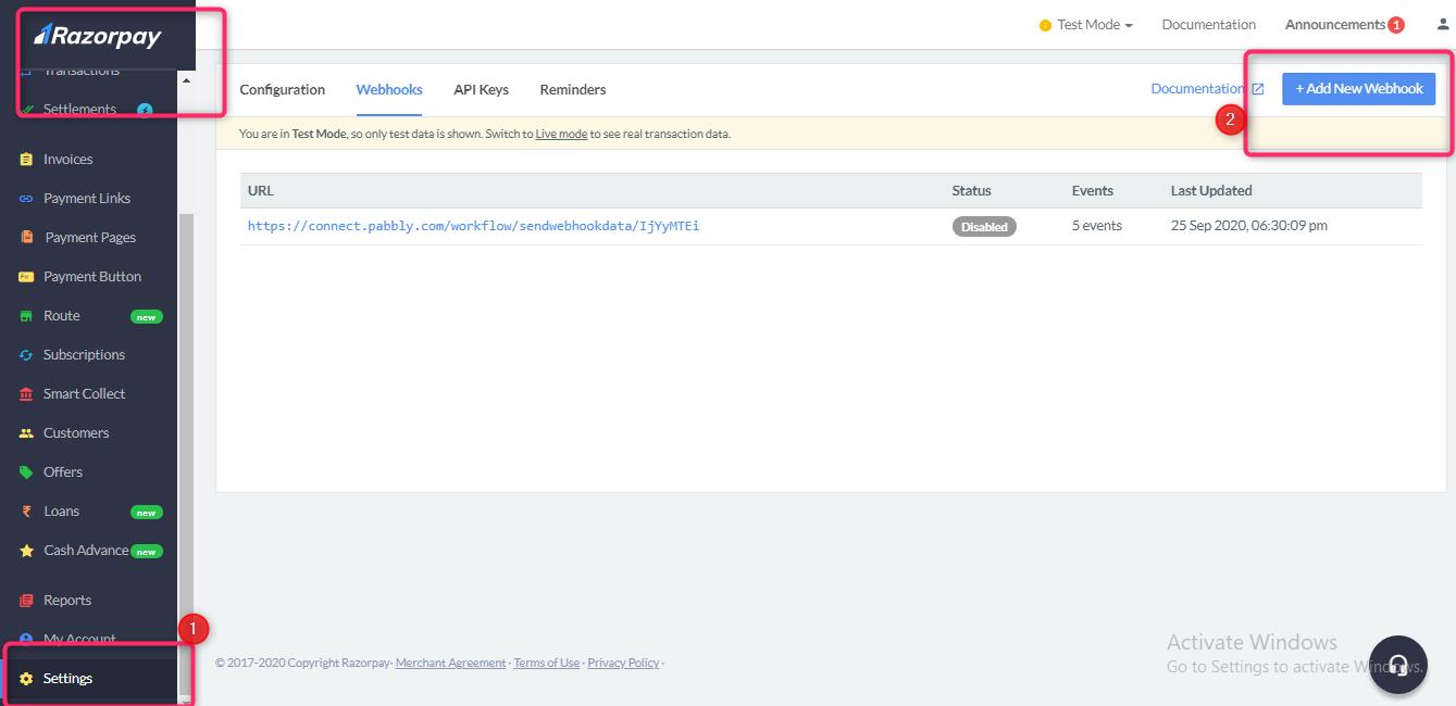 Razorpay dashboard > Settings > Webhooks > Add New Webhook