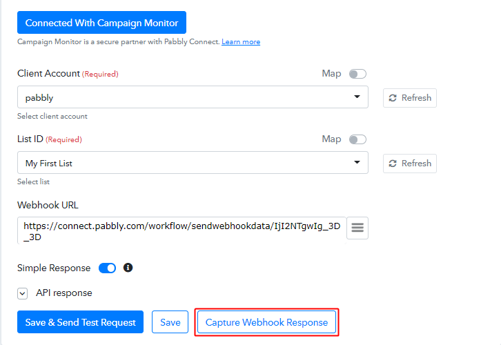 Capture Webhook Response for Campaign Monitor to Stripe