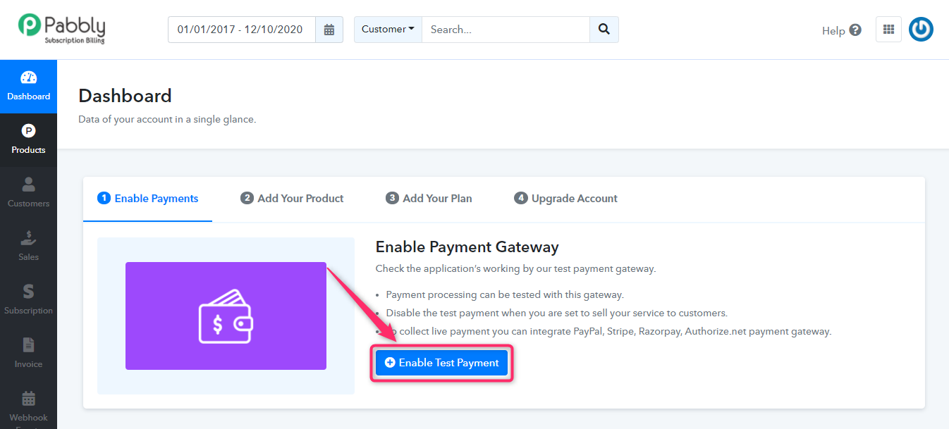 Click on Enable Test Payment