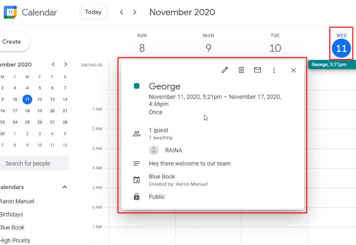 Entry On Google Calendar