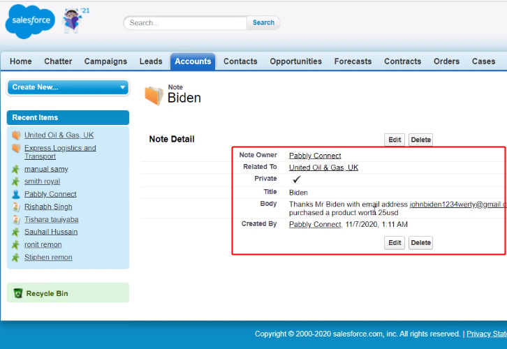 Entry on Salesforce Notes