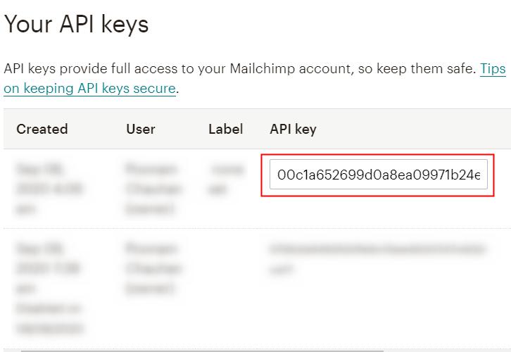 opy API Key MailChimp